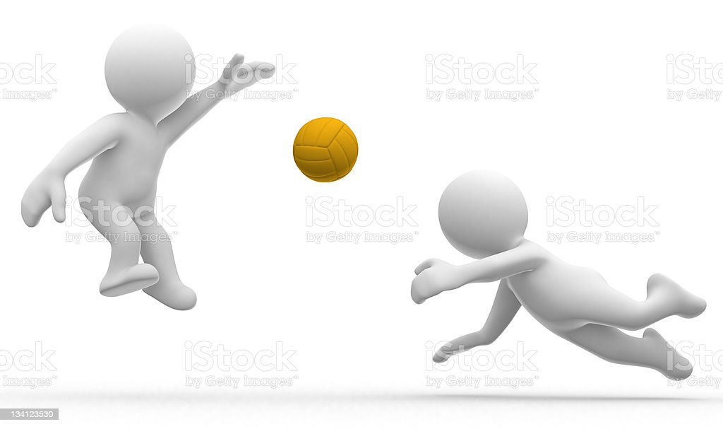 3d humans play volley royalty-free stock photo