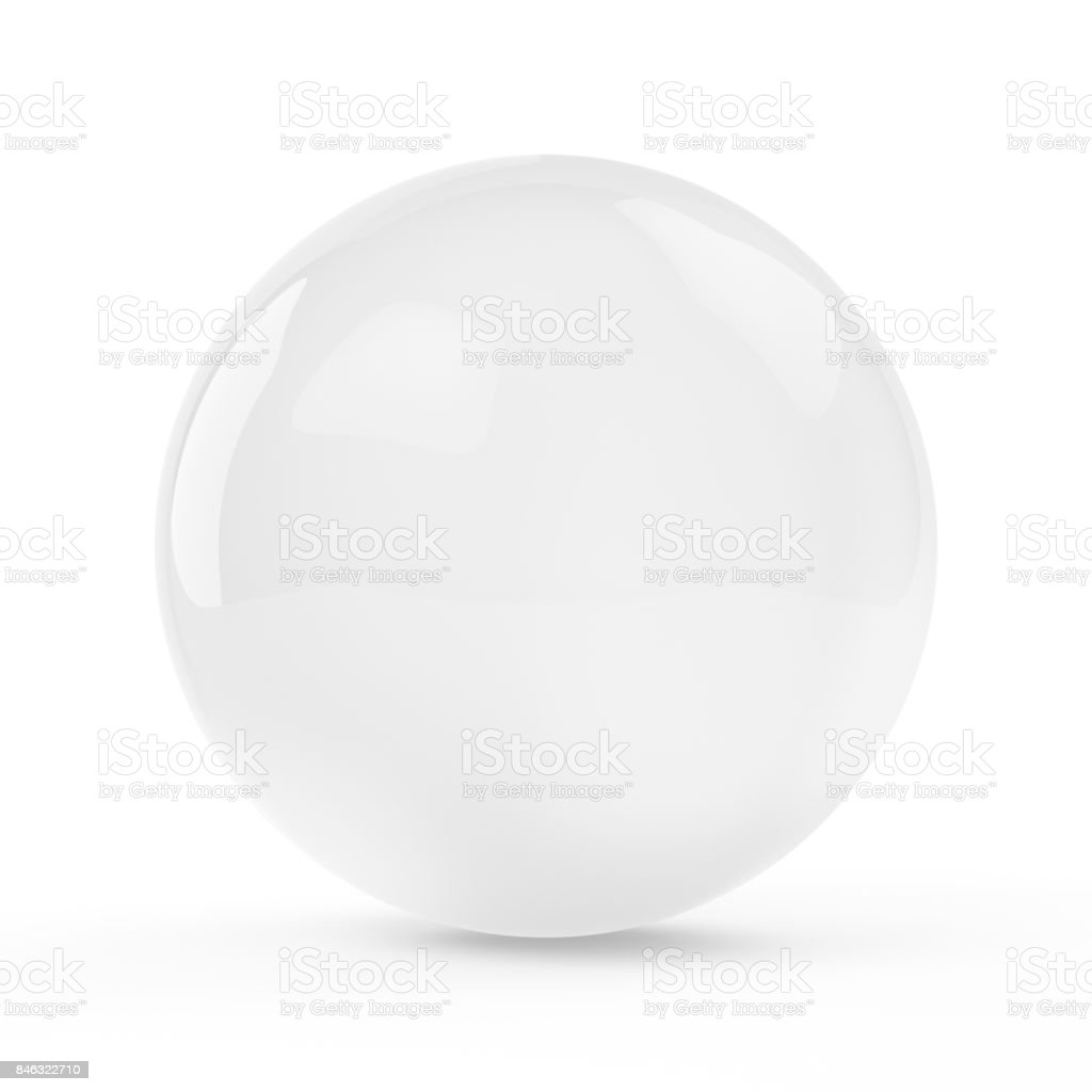 3d ice sphere on white background stock photo