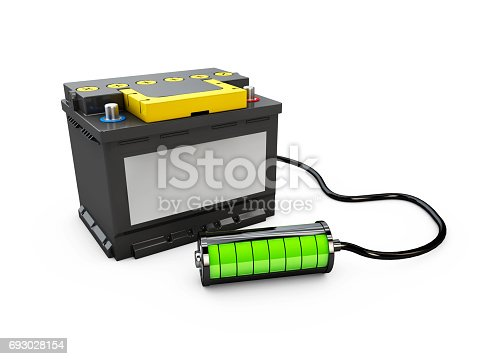istock 3d Illusration of Battery accumulator car auto parts electrical supply power. 693028154