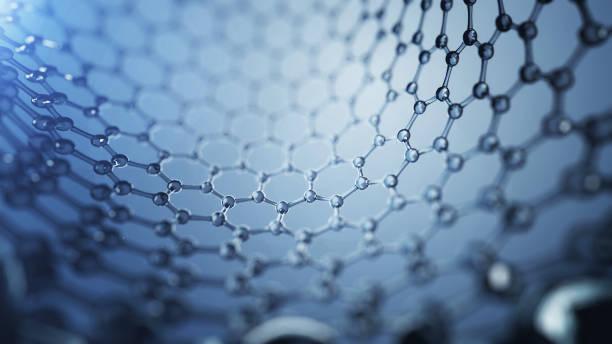 3d illusrtation of graphene molecules. Nanotechnology background illustration. stock photo