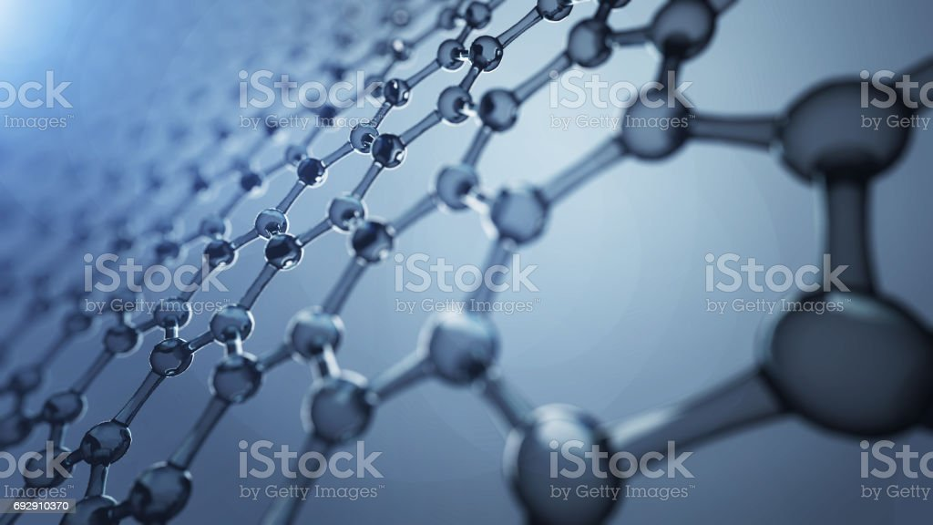 3d illusrtation of graphene molecules. Nanotechnology background illustration. stock photo
