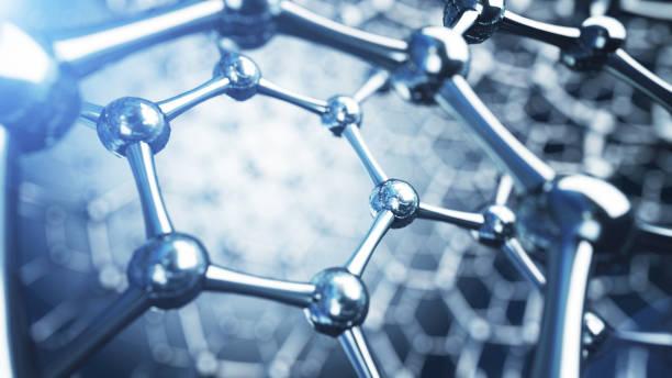 3d illusrtation of graphene molecules. nanotechnology background illustration. - graphene stock photos and pictures