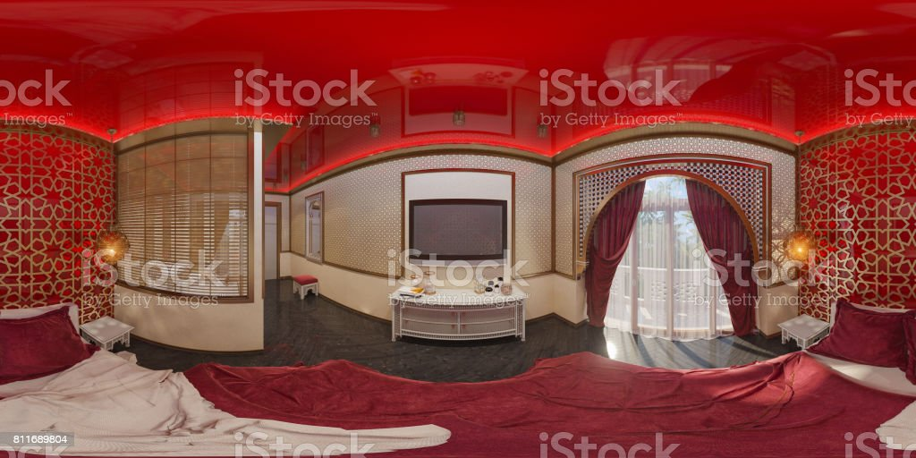 3d illustration 360 degrees panorama bedroom stock photo