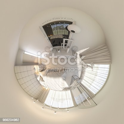 628979038istockphoto 3d illustration 360 degrees panorama of bedroom interior design 956204982