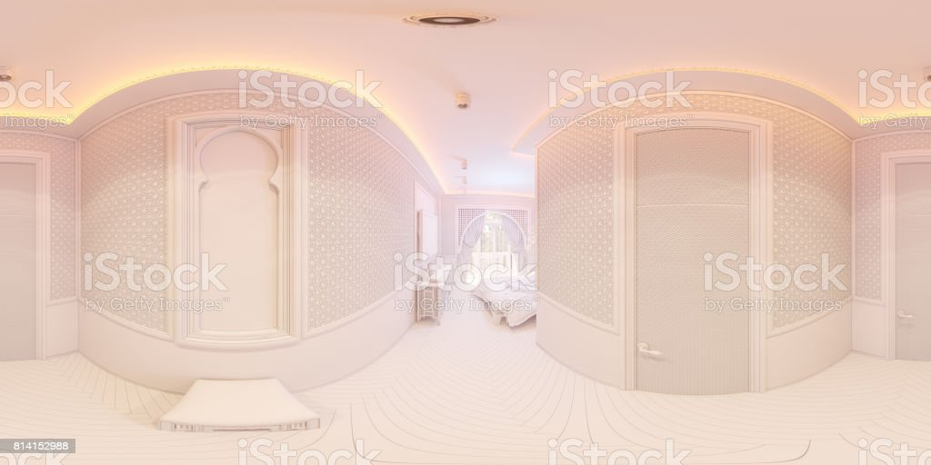3d illustration 360 degrees panorama of hall stock photo