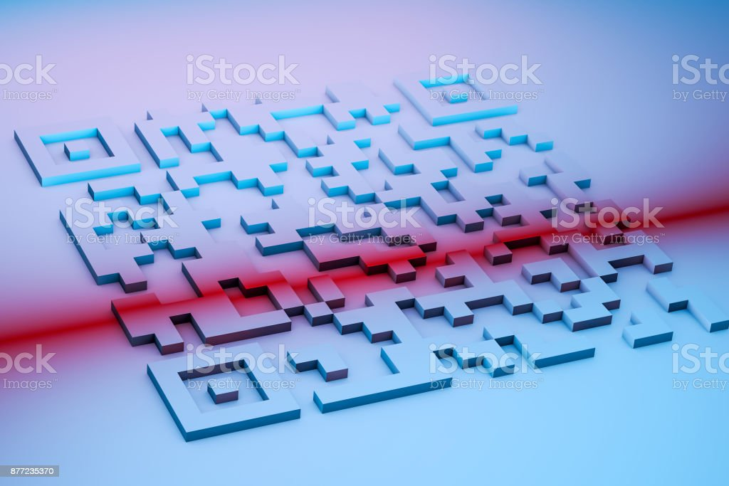 3d illustration abstract 2d code with red light stock photo