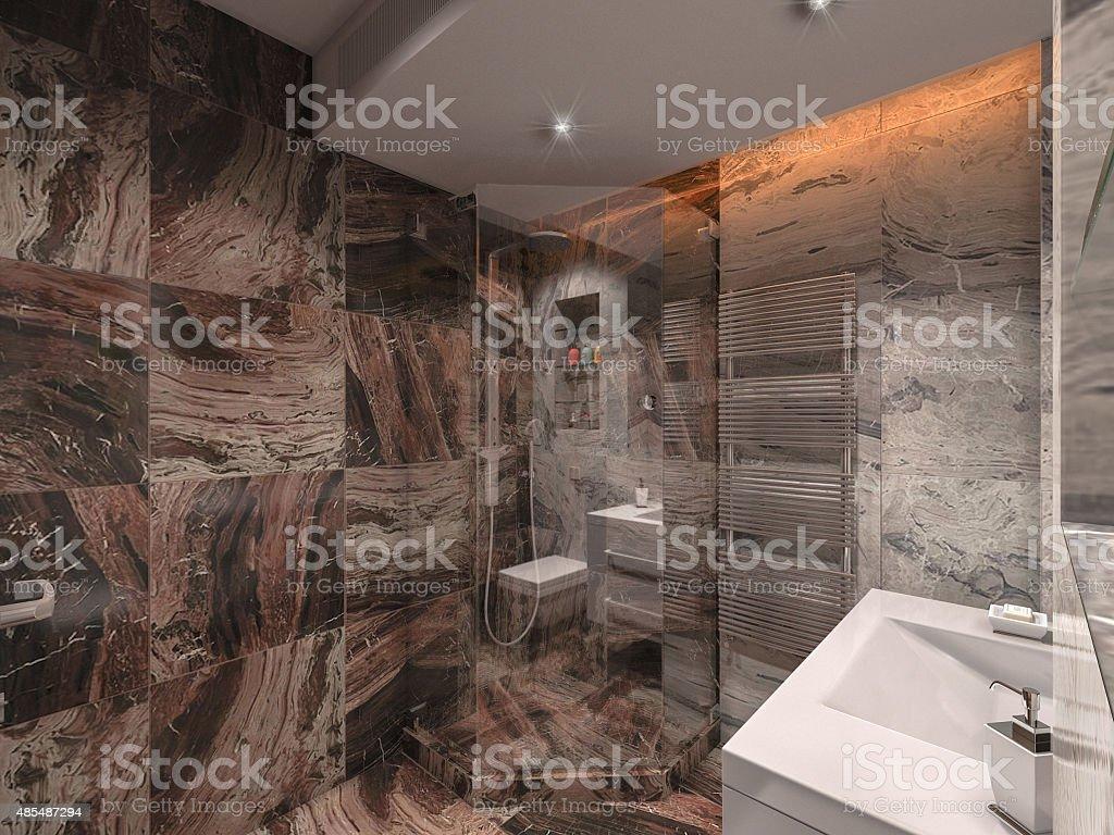 3 D Illustration Badezimmer In Grau Und Braun Stein ...