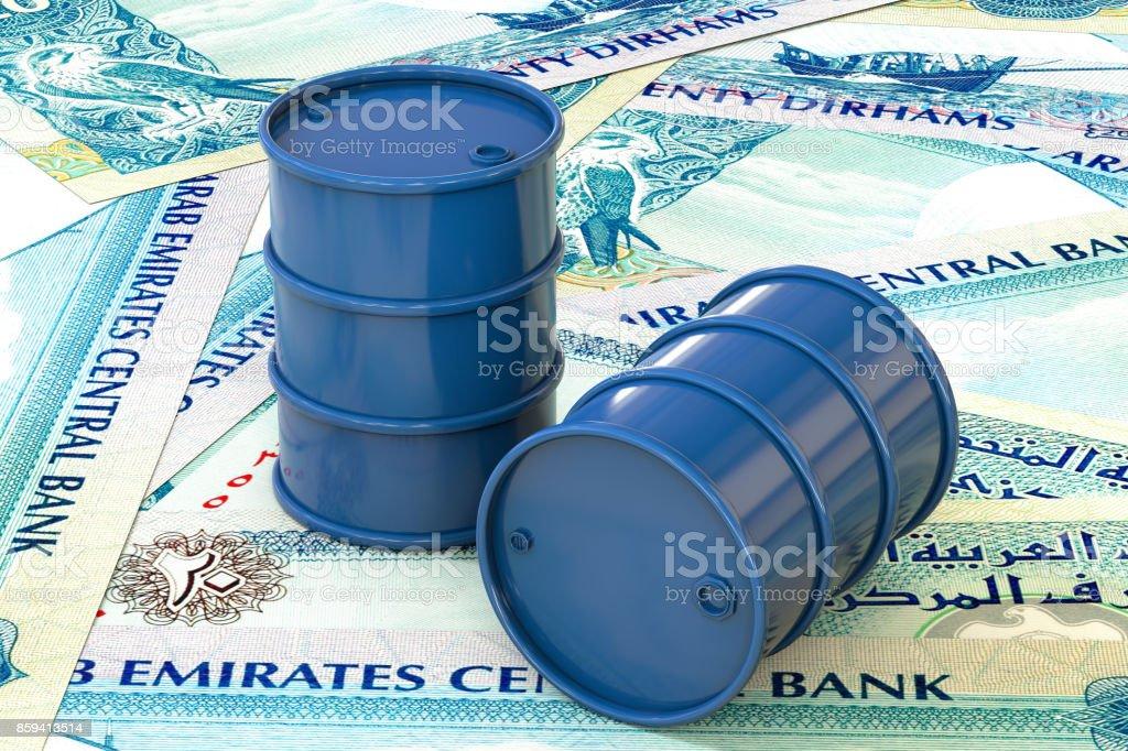 3d illustration: Blue barrels of oil lie on background of banknote twenty dirhams, United Arab Emirates. Petroleum business, black gold, gasoline production. Purchase sale, auction, stock exchange. stock photo