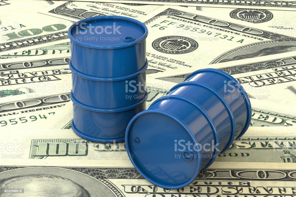 3d illustration: Blue barrels of oil lie on the background of dollar money. Petroleum business, black gold, gasoline production. Purchase sale, auction, stock exchange. stock photo