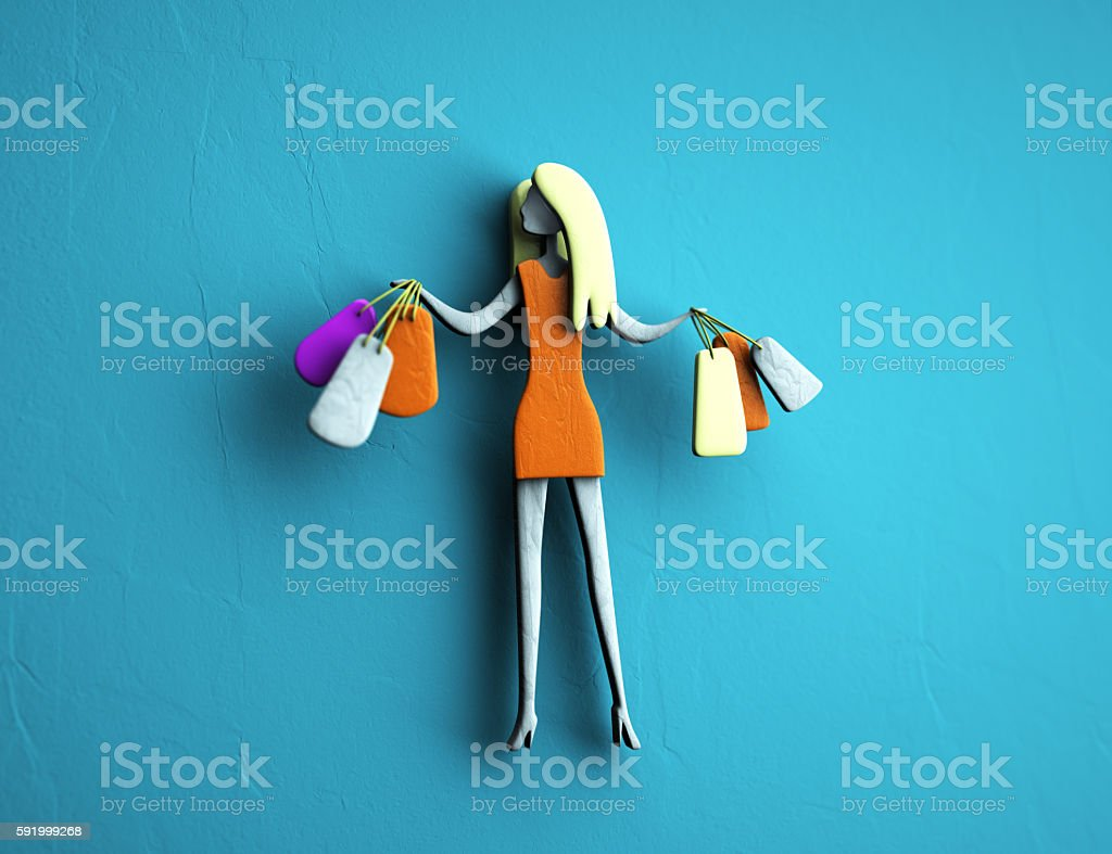 3d illustration, character girl on shopping, girl with purchases stock photo
