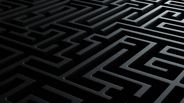 3d illustration closeup of black dark black labyrinth stone walls stock photo