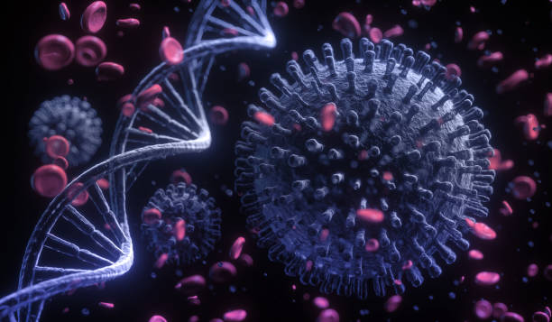 3d illustration closeup of corona virus with DNA strand on black background stock photo
