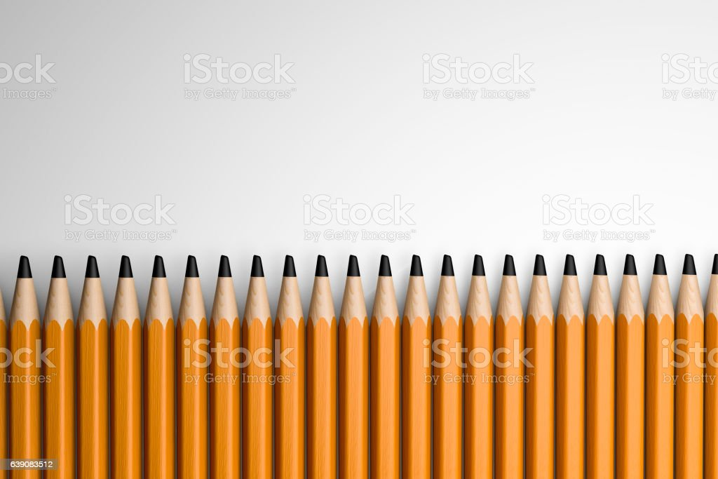 3d illustration colored pencils on white background stock photo