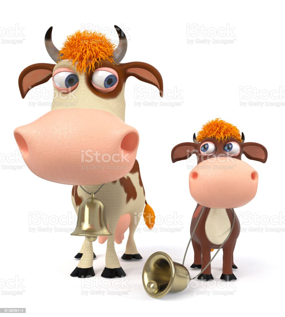 Fotografía de Vaca De Ilustración 3d Con Ternero y más banco de ...