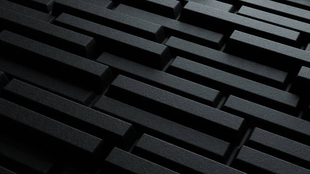 3d illustration dark black geometric brick pattern stock photo