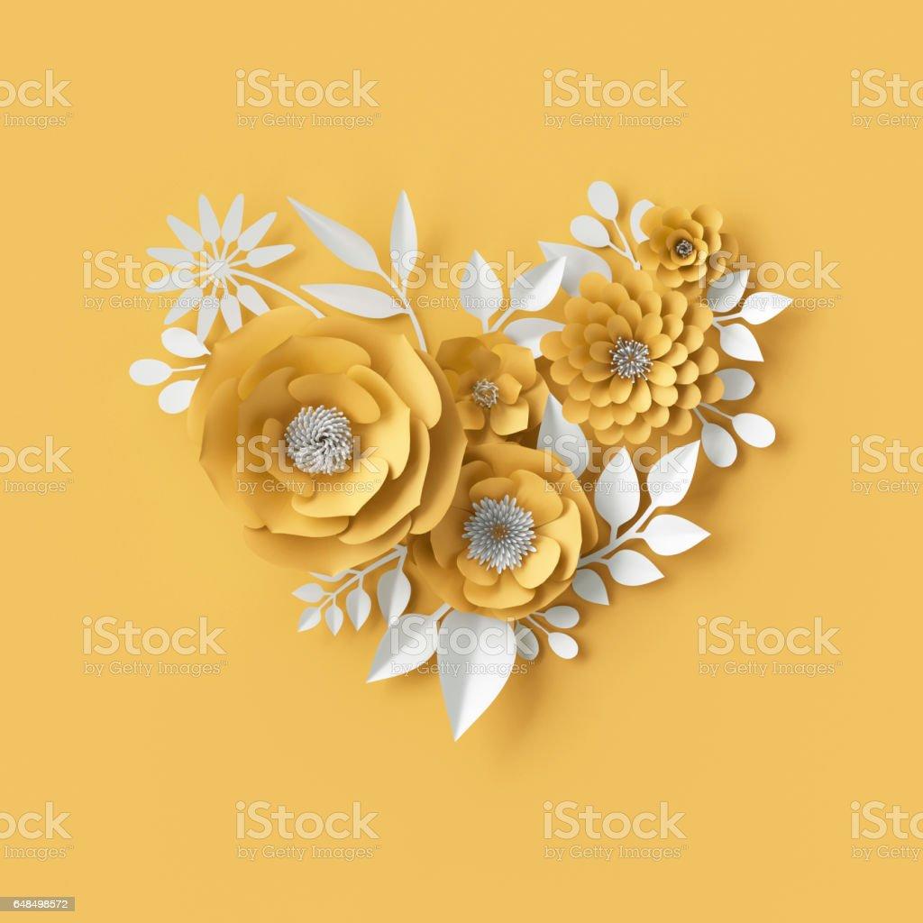 ilustração 3D, fundo de flores de papel decorativo vermelho - foto de acervo
