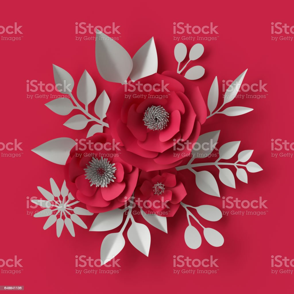 3d Illustration Decorative Red Paper Flowers Background Stock Photo