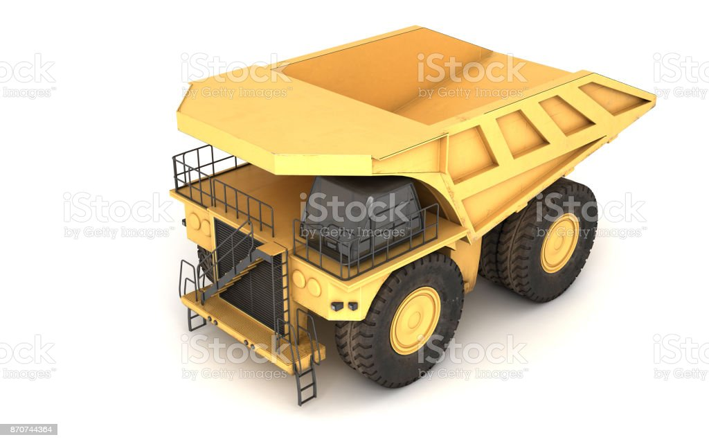 3d illustration. Empty mining dump truck tipper big heavy yellow car. Top view. Direction from right to left stock photo