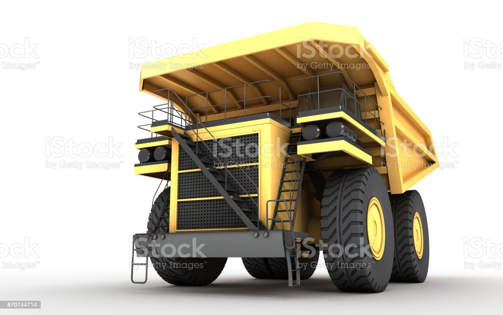 3d illustration. Empty mining dump truck tipper big heavy yellow car. Front bottom view. Direction from right to left stock photo