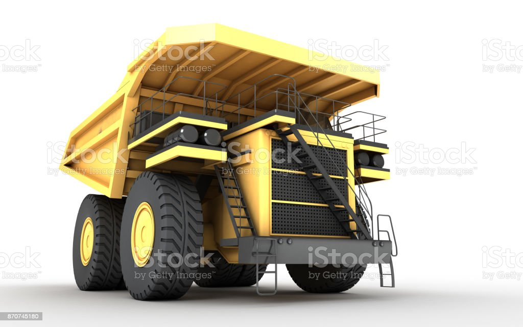 3d illustration. Empty mining dump truck tipper big heavy yellow car. Front bottom view. Direction from left to right stock photo