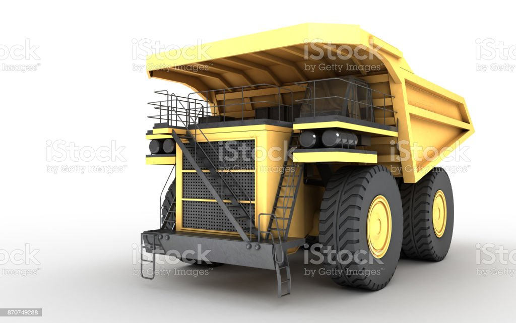 3d illustration. Empty mining dump truck tipper big heavy yellow car. Front side view. Direction from right to left stock photo