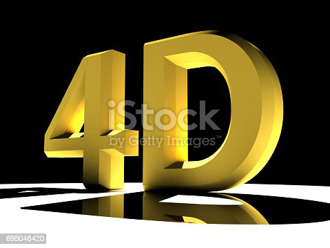 istock 3d illustration featuring reflective 4d letters backlit on white background 695048420