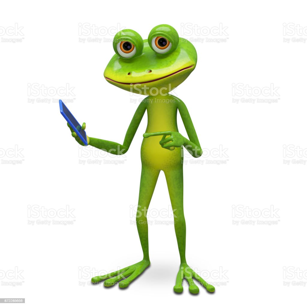3d Illustration Frog and Smartphone stock photo