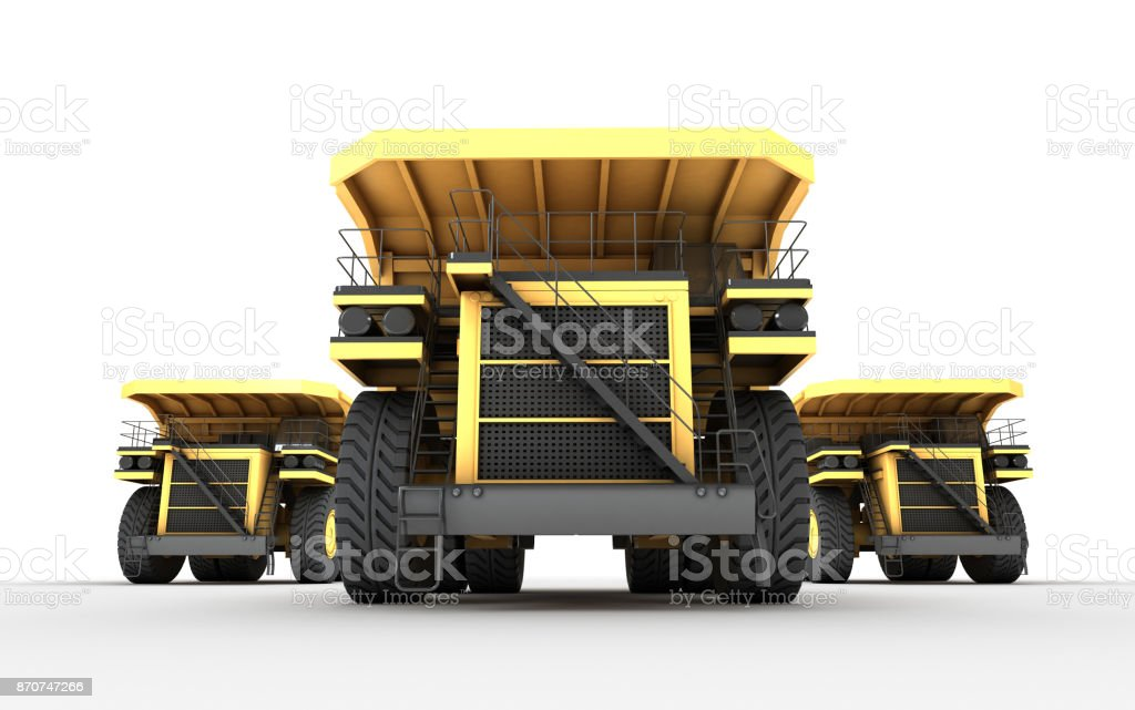 3d illustration. Front bottom view of group with team leader of three empty mining dump truck tipper cars. massive powerful conception stock photo