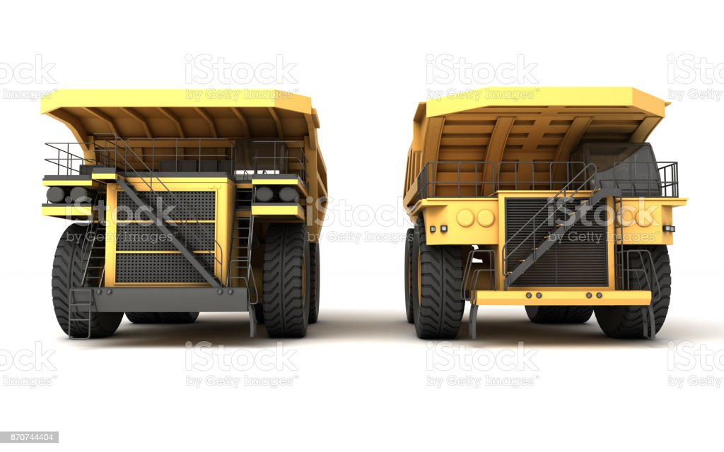 3d illustration. Front view group of two empty mining dump truck tipper big heavy yellow cars stock photo