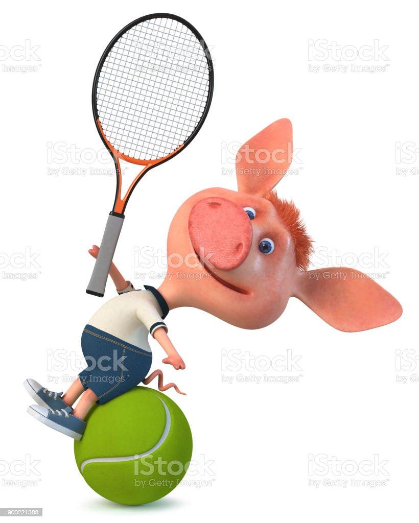 3D Abbildung Spaß Schwein wenig sportlich – Foto