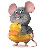 3d illustration funny mouse