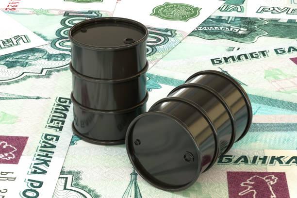 3 차원 일러스트 레이 션: 골든 오일 배럴을 루블, 루블 돈의 배경에 거짓말. 석유 사업, 블랙 골드, 가솔린 생산입니다. 구매 판매, 경매, 증권 거래소. 러시아 정부입니다. - 러시아 루블 뉴스 사진 이미지
