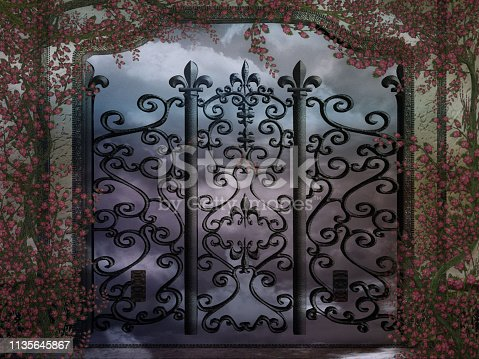 922736646 istock photo 3d illustration graphic background of arch and gate with creepers all around 1135645867