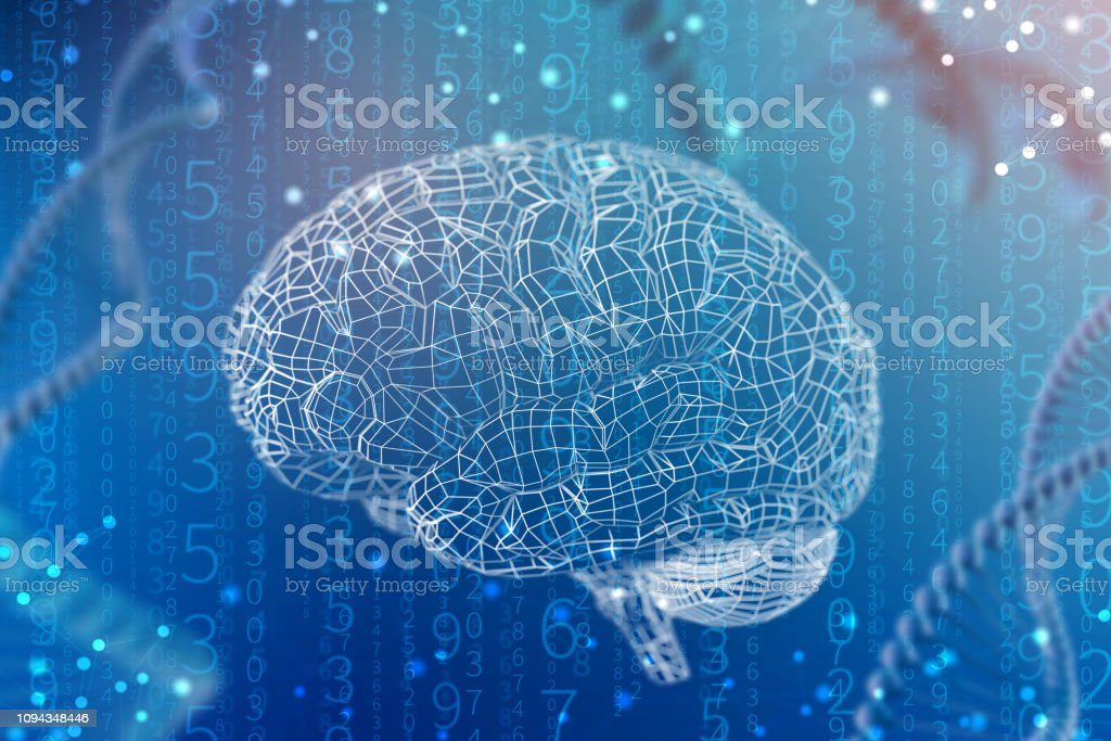 3d illustration grid of digital brain. Artificial intelligence and the limitless possibilities of the mind stock photo