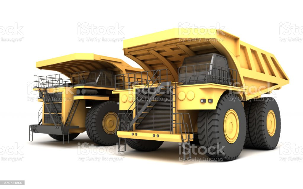 3d illustration. Group of two empty mining dump truck tipper big heavy yellow cars. Front side view. Direction from right to left stock photo