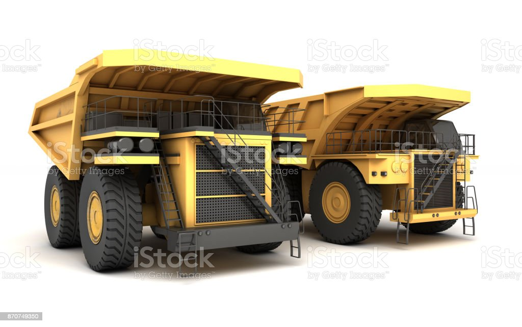 3d illustration. Group of two empty mining dump truck tipper big heavy yellow cars. Front side view. Direction from left to right stock photo