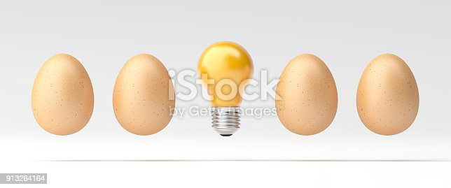 istock 3d illustration Idea Design Concept, Bulb stand alone from egg 913264164