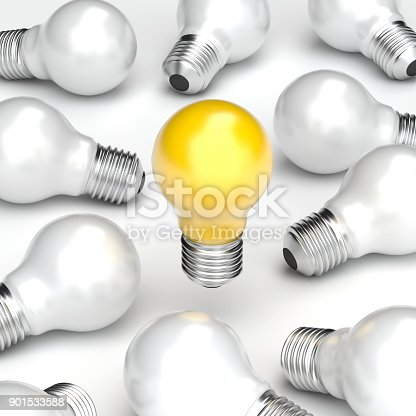 827387052 istock photo 3d illustration Idea Design Concept, Yellow Bulb stand alone from white bulb background. 901533588
