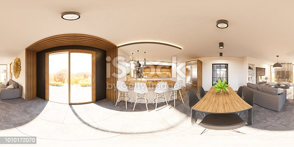 istock 3d illustration interior 360 seamless panorama of living room house 1010172070