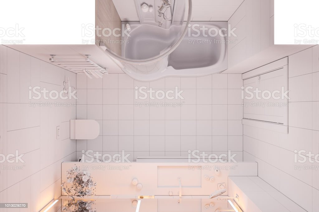 3d Illustration Interior Design Bathroom Without Textures And Colors