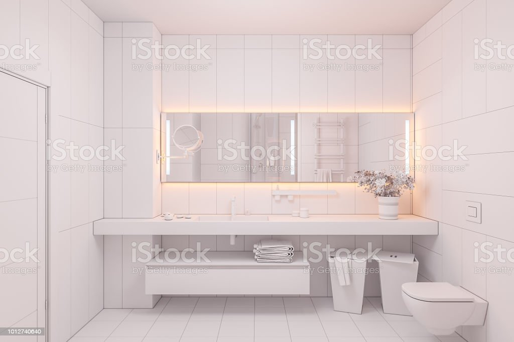 3d Illustration Interior Design Of A Modern Bathroom Without Textures And Colors Stock Photo Download Image Now Istock