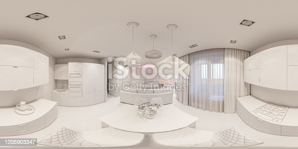 988616560 istock photo 3d illustration interior design spherical 360 seamless panorama living room and kitchen white box 1205903347