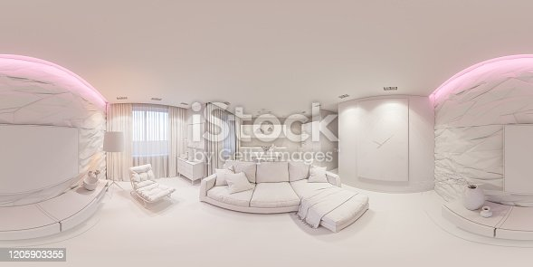 988616560 istock photo 3d illustration interior design spherical 360 seamless panorama living room and kitchen white box 1205903355
