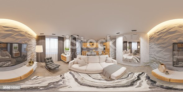 988616560 istock photo 3d illustration interior design spherical 360 seamless panorama living room and kitchen 988616560