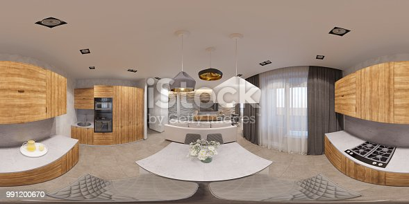 988616560 istock photo 3d illustration interior design spherical 360 seamless panorama living room and kitchen 991200670