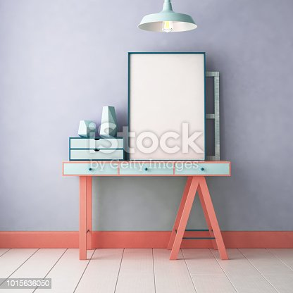 923497490 istock photo 3d illustration interior. Mockup in hipster style workspace. trend color. 1015636050