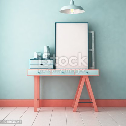 923497490 istock photo 3d illustration interior. Mockup in hipster style workspace. trend color. 1015636084