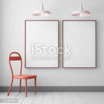 923497490 istock photo 3d illustration interior. Mockup in hipster style workspace. trend color. 1015636094