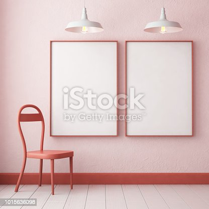 923497490 istock photo 3d illustration interior. Mockup in hipster style workspace. trend color. 1015636098