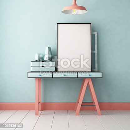 923497490 istock photo 3d illustration interior. Mockup in hipster style workspace. trend color. 1015636102